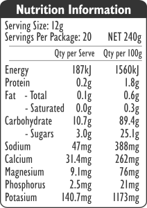 nutrition label