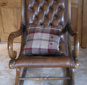 Tartan cushion on rocking chair