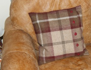Tartan cushion with buttons