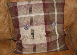 Tartan cushion with fringe