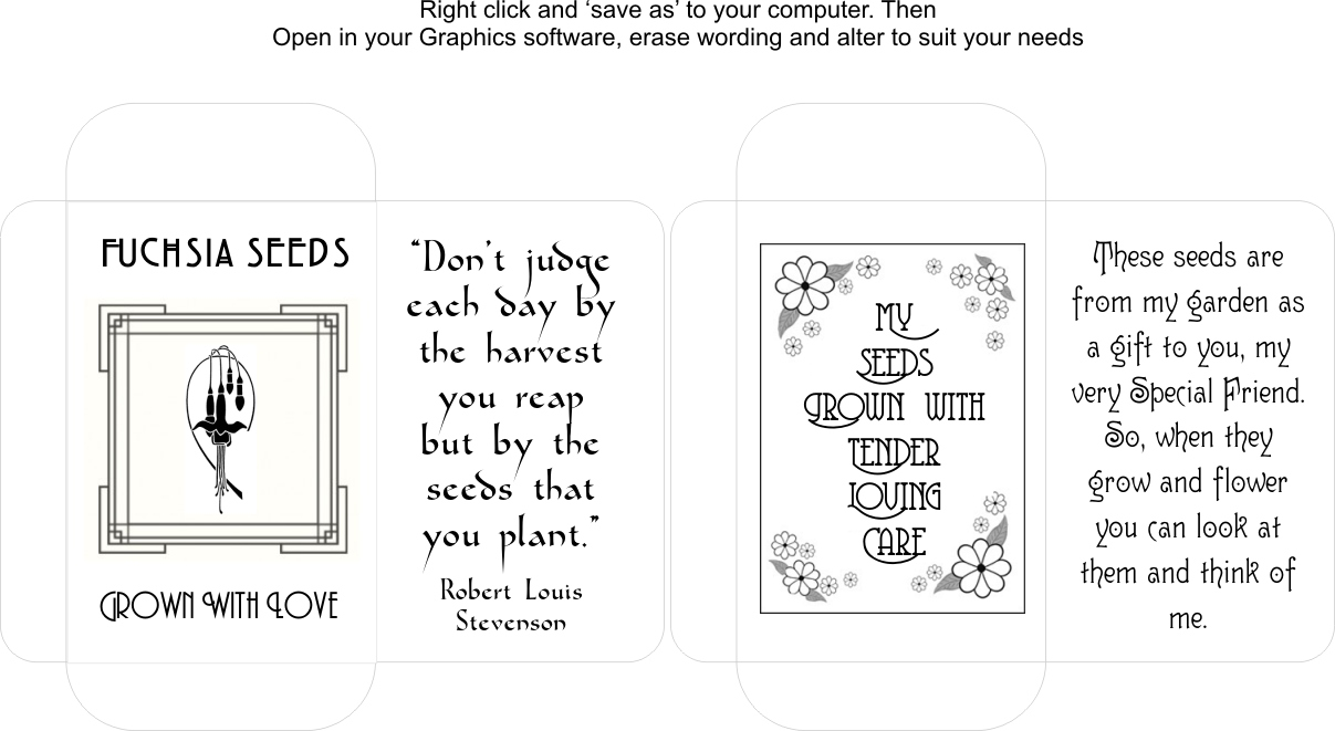 Seed Packet Templates Aunty Lils Place - Seed packet template