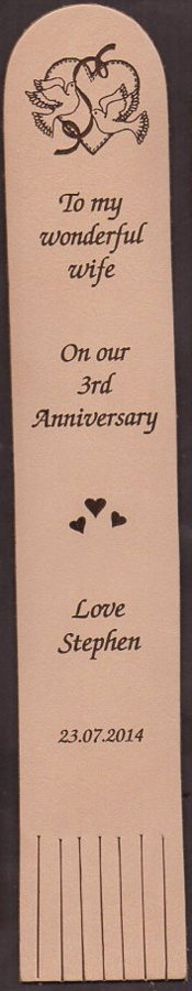 3rd anniversary bookmark leather 900