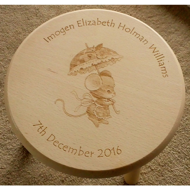 Wooden stool 11 personalised
