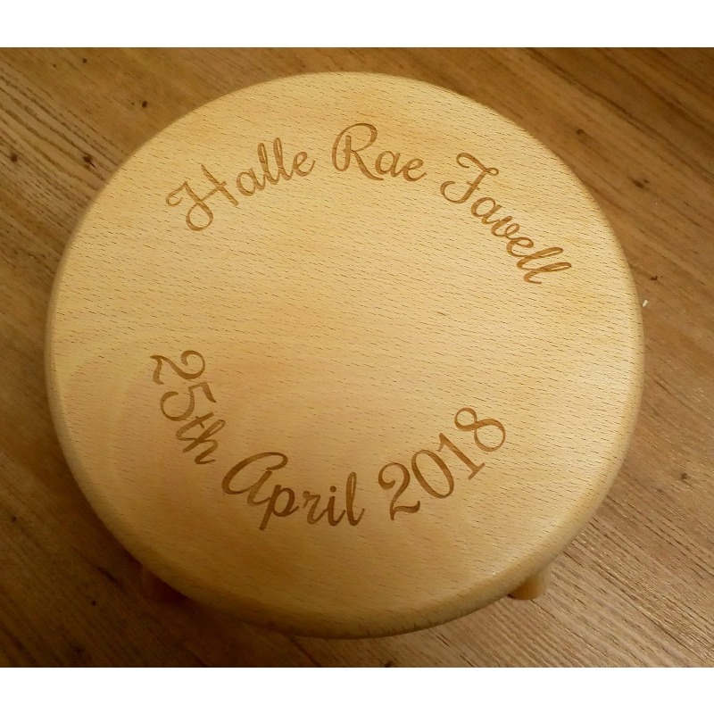 Wooden stool 17 personalised