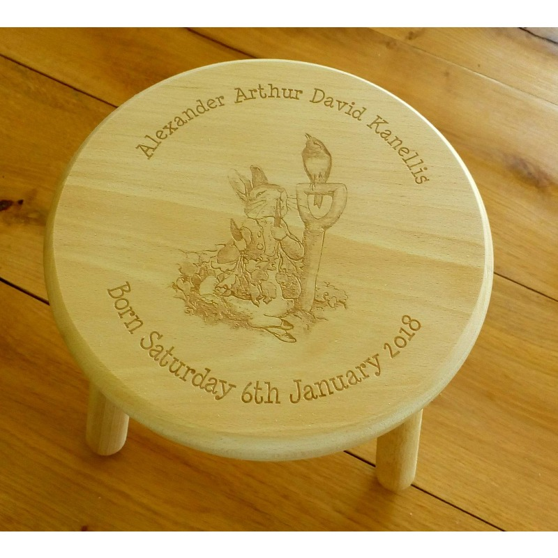 Wooden stool 23 personalised