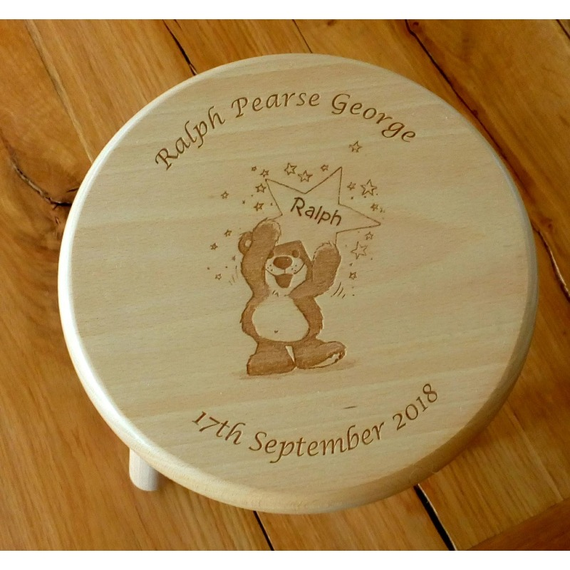 Wooden stool 28 personalised