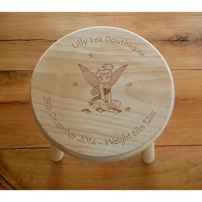 Wooden stool 34 personalised