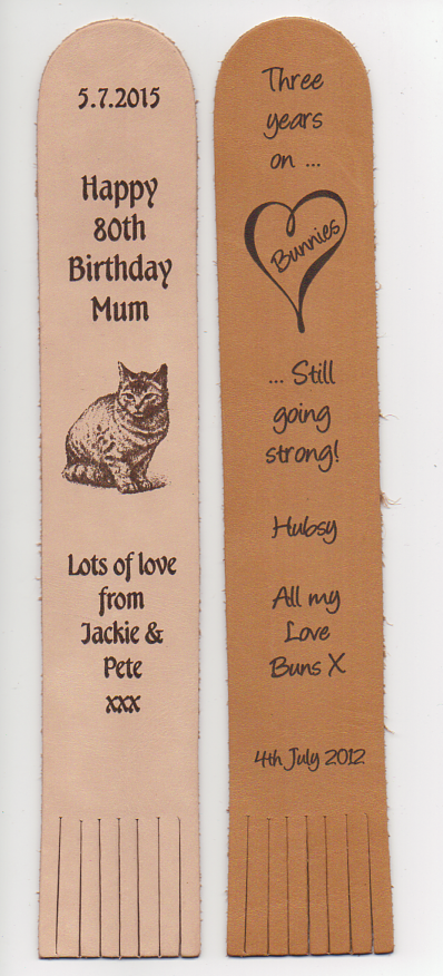 engraved leather bookmarks