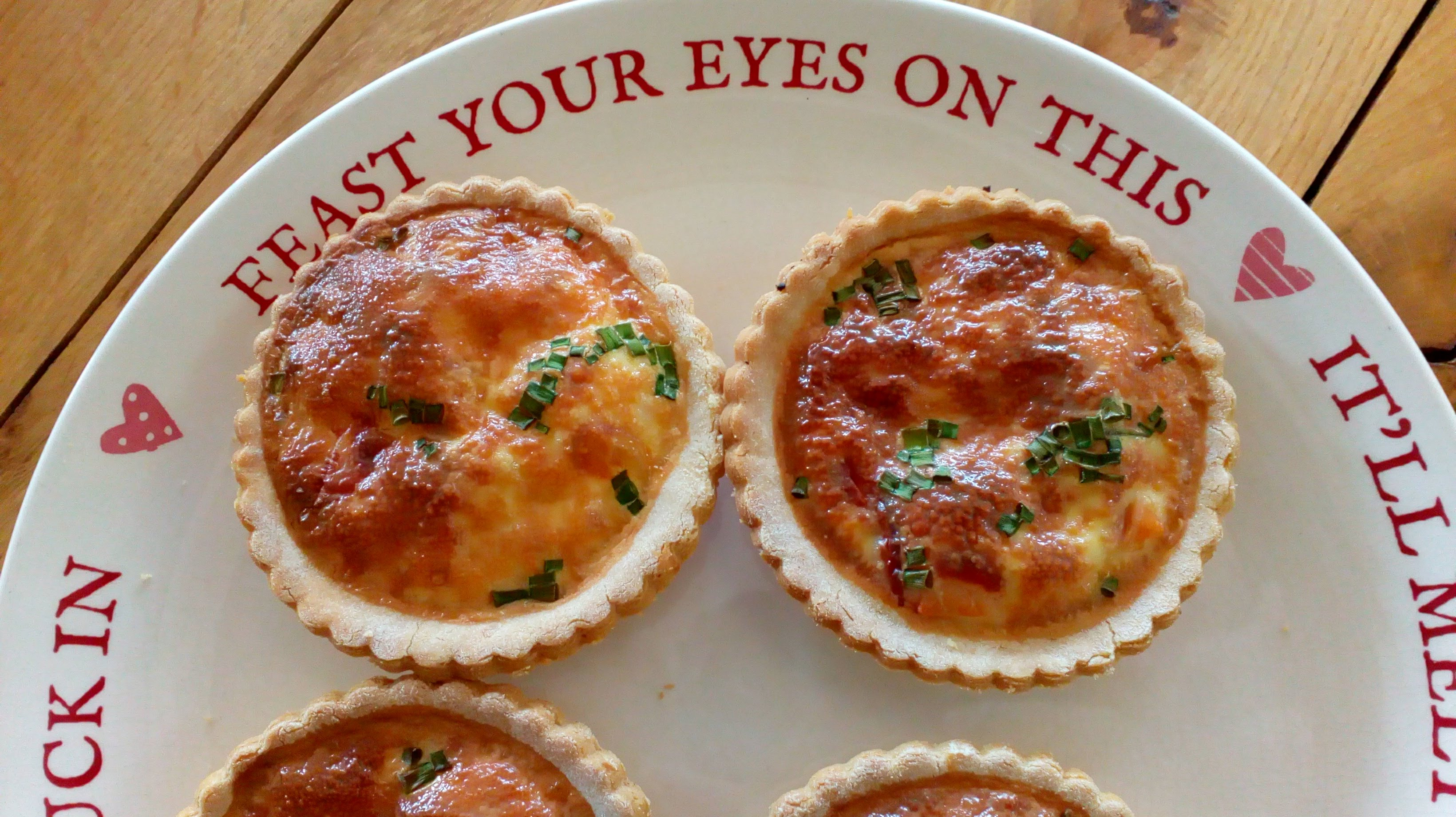Individual quiches - Smoked Salmon, Garlic and Chives