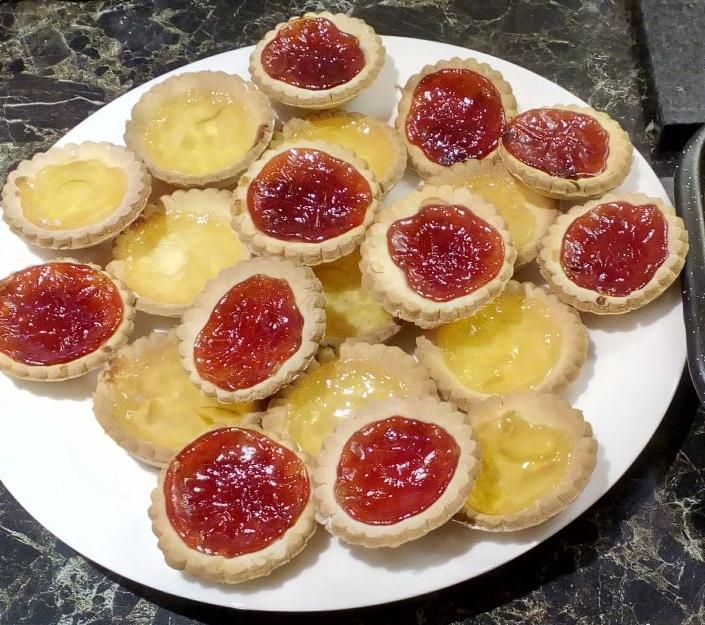 dairy free – gluten free – lemon curd and jam tarts