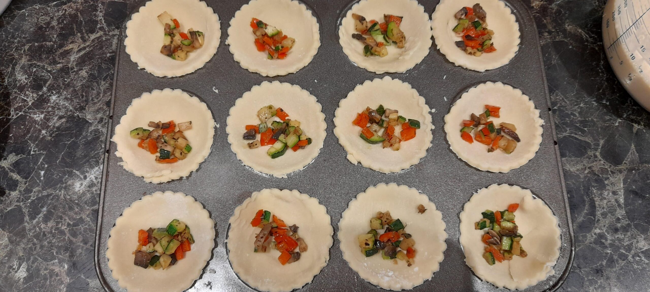 mini veg quiches before cooking