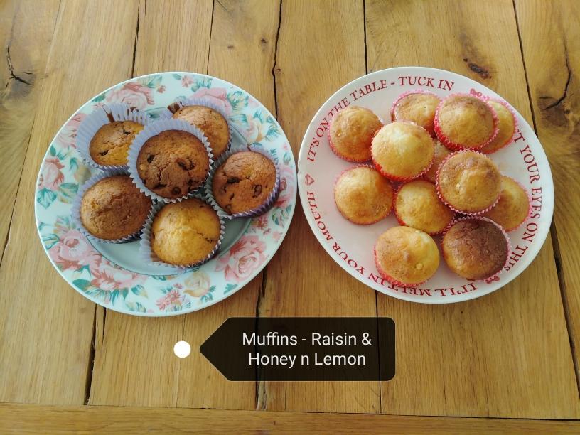 raisin muffins and lemon-honey muffins gluten free