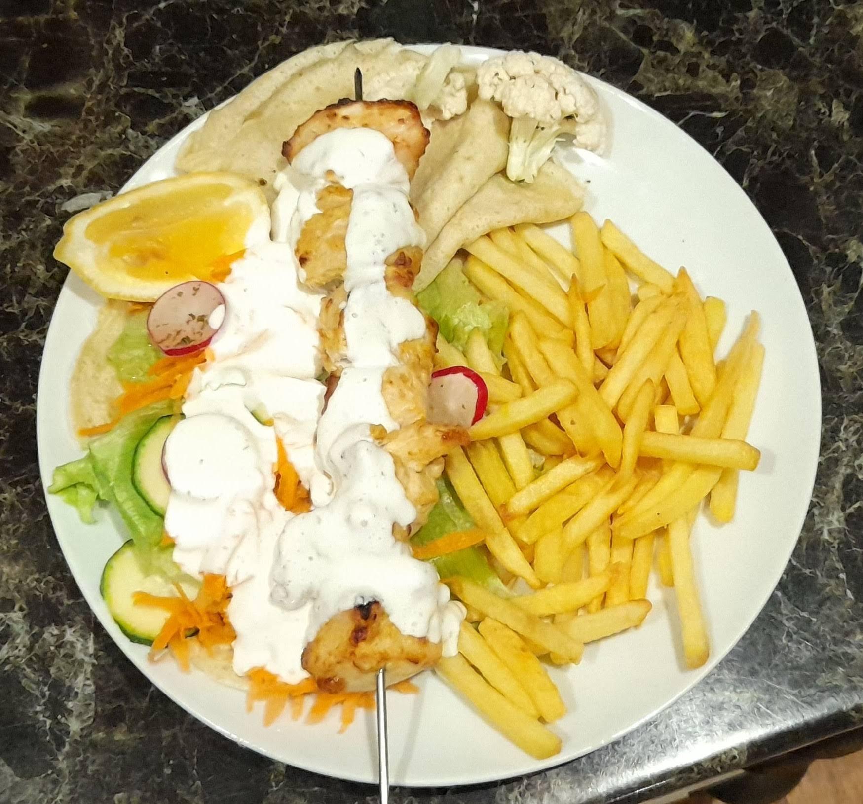 shish kebab with garlic mayo